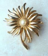 Vintage Large Flower And Pearl Brooch By Sphinx